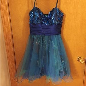 Royal blue sequin dress with sheer overlay